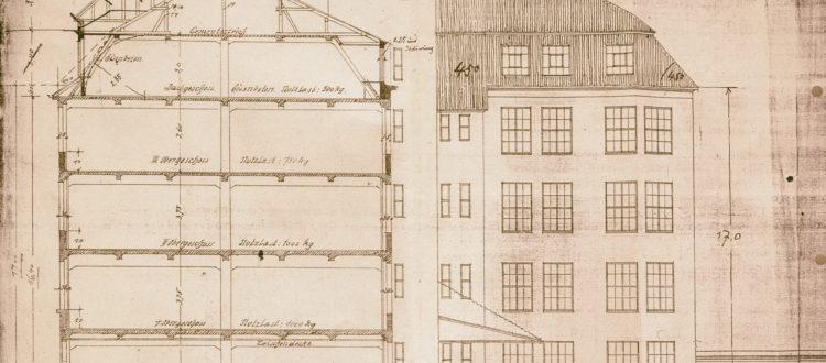 Zeichnung aus der Bauakte des Gebäudes